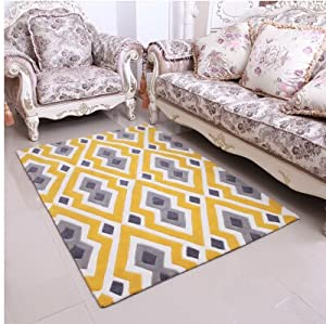 ustide high quality handmade acrylic living room carpet mordern yellow rug for