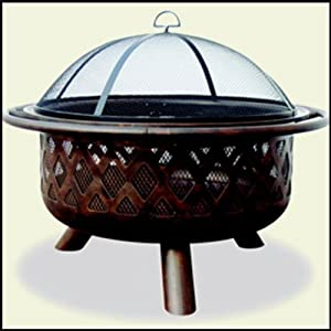 Oil Rubbed Bronze Outdoor Fire Pit with Lattice Design