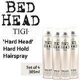 'Hard Head' Hard Hold Hairspray *Set of 4* by TIGI Bedhead (385ml each).