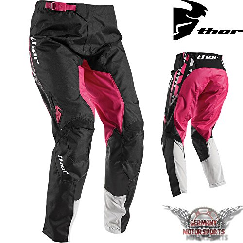 Pantaloni motocross donne Thor Pulse Facet Pink Nero Cross Offroad Enduro Quad MX