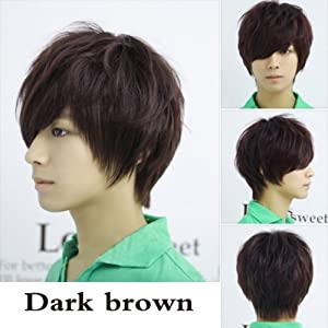 Vktech Fashion Man Neutral Short Straight Wig Cosplay Full Wig Dark Brown from Vktech