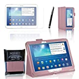 MOFRED® Baby Pink Samsung Galaxy Tab 3 - 10.1 inch Case-MOFRED® Retail Packed Executive Multi Function Standby Case with Built-in Magnet for Sleep / Wake Feature For the Samsung Galaxy Tab 3 10.1 inch Tablet + Screen Protector + Stylus Pen (Available i