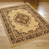Large Traditional Shiraz Rug In Beige 2.0m X 2.9m (6'6 X 9'6 Approx)