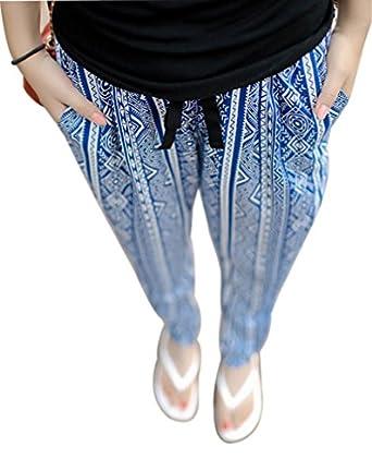 prafa damen karotte hose strandhose freizeithose sommerhose leicht lang i blau. Black Bedroom Furniture Sets. Home Design Ideas