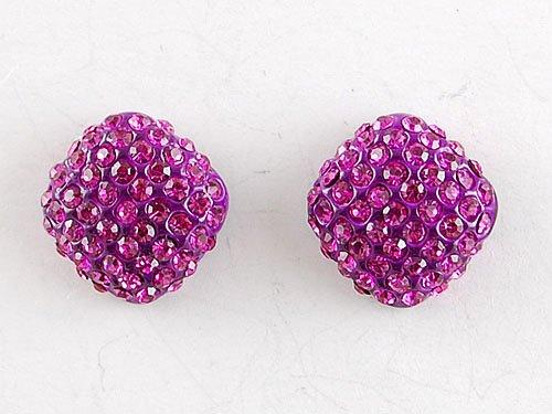 Fuchsia Hot Pink Round Cube Genuine Czech Crystal Rhinestone Stud Ball Earrings