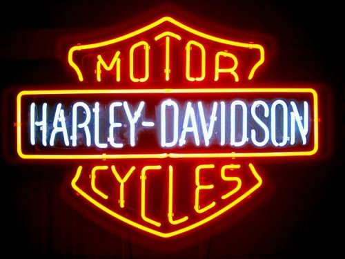 Harley Davidson HD MotorCycle Beer Bar Real Glass Tube Neon Light Sign 23'x21'' Handcrafted