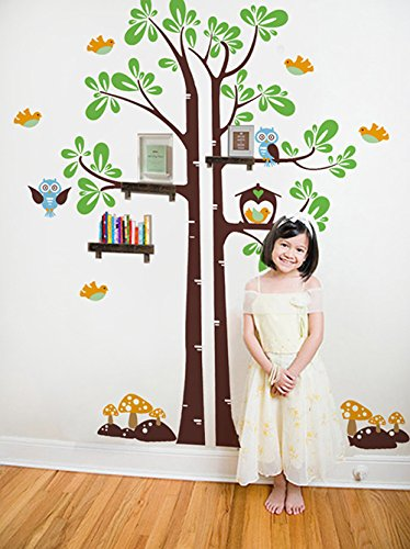 Pop Decors Vinyl Art Wall Decals Mural for Nursery Room, Kids Shelving Tree Removable Dark Brown