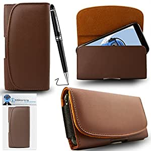 iTALKonline Samsung Galaxy Core Prime SM-G360 Brown PREMIUM PU Leather Horizontal Executive Side Pouch Case Cover Holster with Belt Loop Clip and Magnetic Closure Includes PRO Captive Touch Tip Stylus Pen with Rubber Tip with Roller Ball Pen