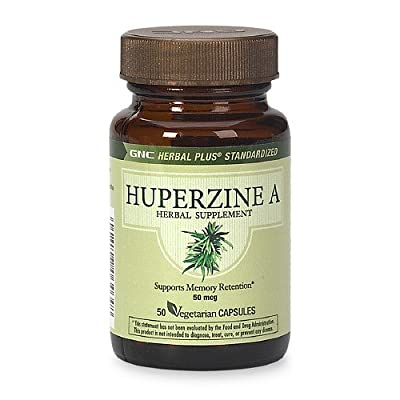 GNC Herbal Plus Huperzine A, 50mcg, Vegetarian Capsules, 50 ea