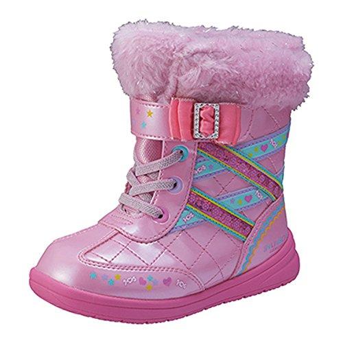 女の子 長靴 雨靴 防寒ブーツ キッズ・靴 スノーブーツ 子供用 瞬足レモンパイ W-235(ピンク17cm)