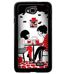 Printvisa Love Couples Dining Back Case Cover for LG L70 D320N::LG L70 Dual D325