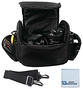 Large Digital Camcorder / Video Padded Carrying Bag / Case For JVC Everio GZ-HM1, GZ-HM45BUS, GZ-HM400, GZ-HM550 & More... + Microfiber Cloth