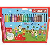 STABILO Trio A-Z Wallet of 20 + 4 FREE neon colours - felt-tip pen with triangular grip zone 24 (Color: Multicoloured, Tamaño: 24)