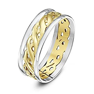 9ct White & Yellow Gold 7mm Celtic Wedding Ring - Size O
