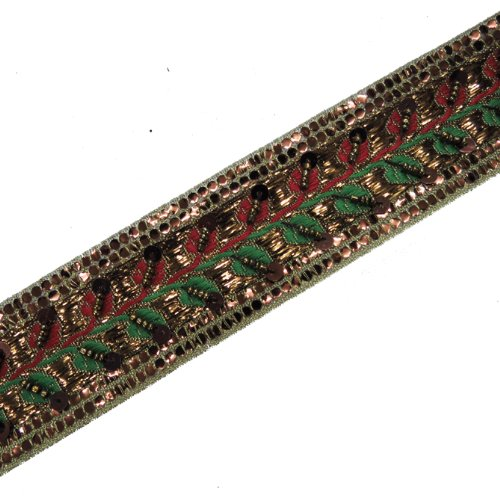 1 Yd Copper Hand Beaded Sequin Red Green Ribbon Trim
