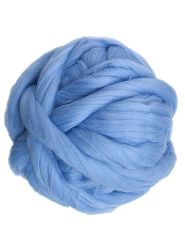 Giant Yarn Chunky Knit Yarn Wool Yarn Extreme Arm Knitting Colors 1 kg(2.2 lbs) Chunky Wool (Sky Blue) (Color: Sky Blue, Tamaño: large)