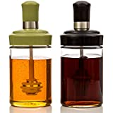 Honey/Syrup Jar (250ml) w/ Combination Dipper/Spoon & Lid Glass - Wide Mouth for Mess-free & Easy Dispensing, 8oz Capacity (Set of 2)