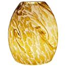 American Lighting GS-A-AT Small Oval Hand Blown Glass Light Cover with Abstract Design, 5.9-Inch Height x 4.75-Inch Diameter, Amber/Tan