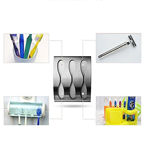 Apl T93 Stainless Steel Toothbrush Razor Holder With Adhesive Tape No Drilling Bathroom