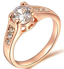 buy Bishilin 18K Gold Plated Women Wedding Rings Single Drills Cubic Zirconia Rose Gold Size 7