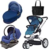 Quinny Buzz 3 Travel System and Dreami Bassinet in Blue Scratch with Diaper Bag