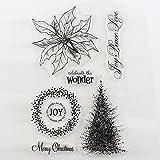 CCINEE クリアスタンプ 面白い DIY道具 透明印章 印鑑 手作りスタンプ クリスマスツリー Meery Christmas 16x11x0.4cm(全18種図案)