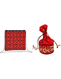 Nonch Le Bag Combo Women Sling Bag & Potli ( Everything Love In Red )