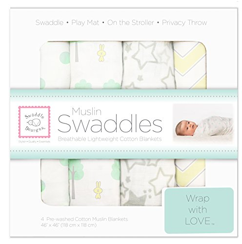SwaddleDesigns Set of 4 Muslin Swaddle Blankets, Woodland Fun