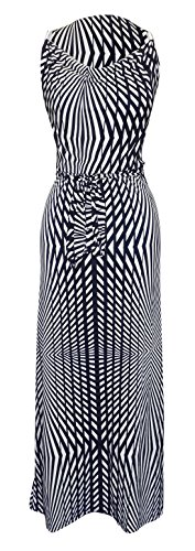 Peach Couture Classic Striped Belt Metal Embellished Sleeveless Tank Maxi Dress (Large, Navy)