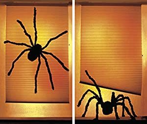 """WOWindow Posters Shady Spiders Creepy Halloween Window Decoration includes two 34.5""""x60"""" backlit plastic posters"""