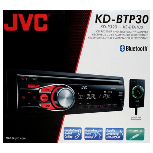 Jvc Kdbtp30 In-Dash Single Din Cd/Mp3/Wma Receiver With Included Bluetooth Adapter And Dual Front/Rear Aux