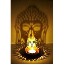 BrassLine Shadow Gautam Buddha Tea Light Candle Holder For Home Décor