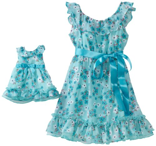 Dollie & Me Little Girls' Ruffled Yoke Dress With Matching Doll Garment