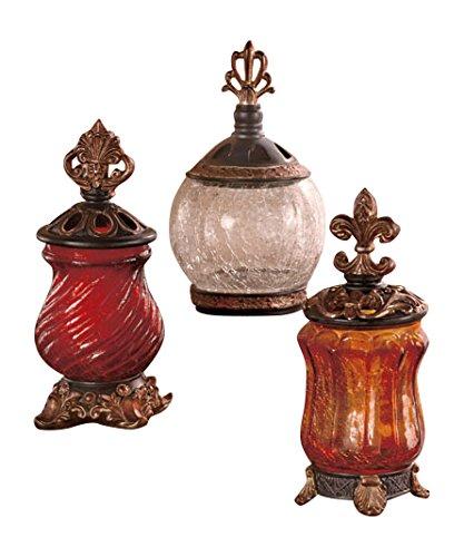 set decorative accessories of 3 elegant tuscan ornate lids. Black Bedroom Furniture Sets. Home Design Ideas