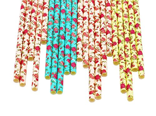 Flower Paper Straws - 100% Biodegradable, Perfect Quality, Trendy & Beautiful Paper Straws for Birthdays, Weddings, Baby Showers, Bachelorettes, Celebrations, Parties 75/pack