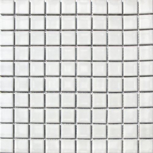 Square Tile White Porcelain Mosaic Shiny Look 1-1/8