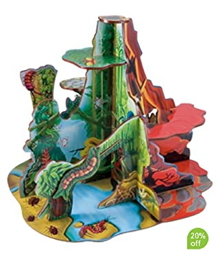 Create roaring prehistoric adventures. Chase dinosaurs around the waterfall, through the fern forest, up and down the rocky ledges and into the red-hot volcano  Four fantastic dinosaur habitats in one to inspire budding paleontologists  Easily assembled and disassembled for storage  Dinosaurs available separately  Suitable from 3yrs