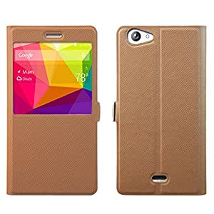 BLU Life XL Case - Asmart Slim Stand Quick View Window Side Flip Pu Leather Cover Case for BLU Life XL (Coffee Brown)