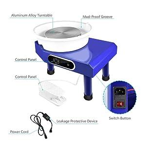 Mein LAY Pottery Wheel Forming Machine 25CM Electric Pottery Wheel DIY Machine with Foot Pedal for Ceramic Work Clay Art Craft 110V 350W Blue