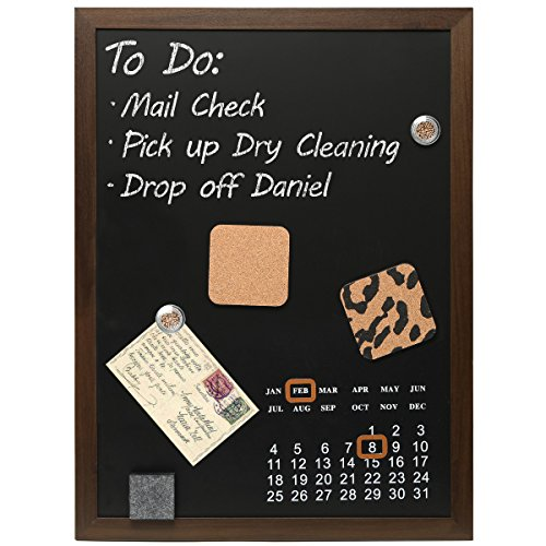 Wall Mounted Wood Framed Magnetic Blackboard / Chalk Memo Message Board with Calendar - MyGift®
