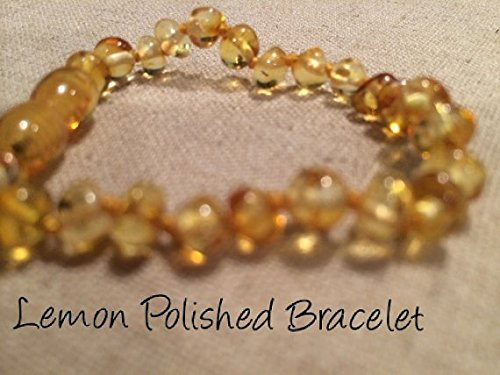 Baltic Amber Teething Bracelet for Babies (Unisex) (Lemon) - Baby, Infant, and Toddlers will all benefit. Polished Lemon Anti Flammatory, Drooling & Teething Pain Reduce Properties - Natural Certificated Oval Baltic Jewelry with the Highest Quality Guaranteed. Easy to Fastens with a Twist-in Screw Clasp Mothers Approved Remedies!
