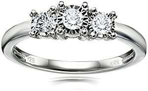 Sterling Silver 3-Stone Diamond Engagement Ring (1/4 cttw, I-J Color, I2-I3 Clarity), Size 7 by Amazon Collection