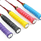 KLOUD City ®5 pcs (Black, Blue, Purple, Yellow, Red) PU soft, absorb moisture and anti-slip overgrip for tennis and badminton racket bike bar