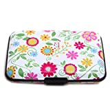 HDE Aluminum Travel Wallet Credit Card Case with RFID Blocking Protection (Flowers)