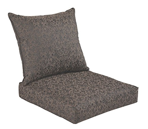 Bossima indoor outdoor black gold damask deep seat chair for Deep seat patio cushions sale