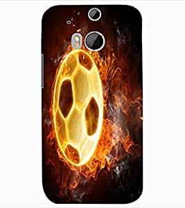 ColourCraft Flaming Football Design Back Case Cover for HTC ONE M8