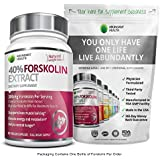 40% FORSKOLIN 300MG - Pure, Highest Grade Coleus Forskohlii Root Extract Standardized to 40% for Weight Control - Supports Lean Muscle Building & Helps Control Hunger - 90 Veggie Caps - Made in USA