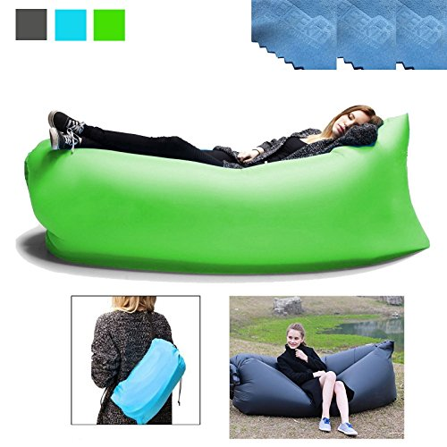 3 EEEKit Outdoor Convenient Inflatable Lounger Nylon Fabric Sleeping Compression Air Bag Hangout Bean Bag Portable Dream Chair for Outdoor Gathering (Green)
