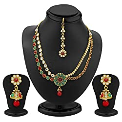 Sukkhi 2 Strings Gold Plated AD, Ruby and Emerald Antique Necklace Set for Women