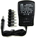 """Fortune Products  Switching Power Adapter, 3.5"""" Length, 2.25"""" Width, 2.25"""" Height, 57.25"""" Cord, Black"""